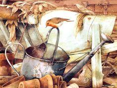 Marjolein Bastin - Wren on Watering Can Jessie Willcox Smith, Marjolein Bastin, Nature Artists, Nature Drawing, 5d Diamond Painting, Dutch Artists, Cross Paintings, Bird Art, Beautiful Birds