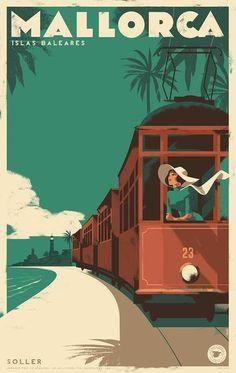 2017 Danish Modern Travel Mallorca Poster, Soller Vintage Train by Mads Berg