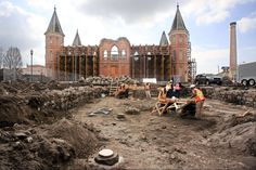 The Provo tabernacle, soon to be temple, and excavation