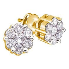10k Yellow Gold 0.25Ctw Round Diamond Flower Ladies Earrings