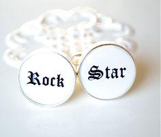 Rock Star Cufflinks   rock font keepsake gift for by whitetruffle, $40.00
