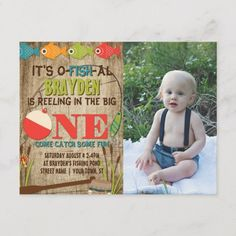 Shop The Big One Fishing Theme Gray Boys First Birthday Invitation Postcard created by ModernMatrimony. 1st Birthday Invitations Boy, Diy Invitations, Invites, 1st Birthday Princess, Boy First Birthday, Thing 1, Fishing Gifts, First Birthdays, Big