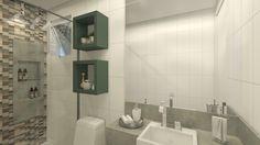 Decoração de apartamento pequeno, decoração minimal, banheiro, luz natural, marcenaria, lavanda, decor, bancada branca, revestimento, banheira, painel em madeira, nicho verde, revestimento.