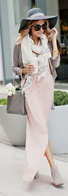 #street #fashion pink fall maxi dress