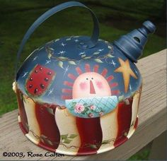 Decorative Wood Painting, Tole Painting, Diy Painting, Painting On Wood, Painted Cups, Painted Metal, Tea Kettles, 4th Of July Decorations, Country Paintings
