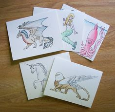 Hand-painted #MythicalCreatures Greeting #Cards, Set of 5, Customizable, via #Etsy.  #dragon #mermaid #kraken #unicorn #griffin