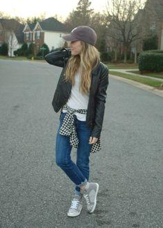 www.TrendyLindy.com - street style, blogger, denim, baseball cap, denim, sneakers, fashion, leather jacket.