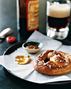 Soft Pretzels | Martha Stewart Living - An array of mustards -- ranging from spicy to sweet, smooth to grainy -- adds intrigue to these easy-to-make soft pretzels. Pretzel salt is available from Spice Barn.