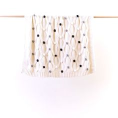 Cotton Knit Pom Pom Baby Blanket 'Monochrome' - A Whole Lot of Love