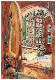 Een doorkijk Amsterdam, 1942, pastel op papier, Martin Monnickendam