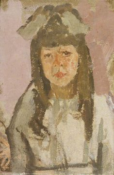 Bust of a Girl with a Bow Before a Pink Background, Gwen John oil on canvas, Arts Council Collection, Southbank Centre Gwen John, Leeds Art Gallery, Portraits, Art Uk, French Art, Artist Art, Figurative Art, Traditional Art, Van Gogh