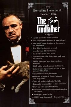 A great poster from The Godfather - a list of things you can learn from Francis Ford Coppola's epic Mafia movie! Fully licensed. Ships fast. 24x36 inches. Need