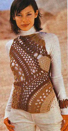 Crochê colete estilo friform