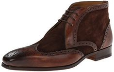 Men's brown brogue ankle suede and leather Chukka boots, Men dress leather boots #Chukka
