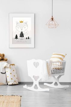 """Woodland nursery, Monochrome nursery, Girl Nursery, Little Princess, Mountains nursery, Girl gift, Printable, Black white Art, Fox nursery.  ❥ This beautiful and genuine handmade woodland monochrome nursery print features a cute black and white girl fox illustration with a gold crown, on a grey mountains background with lovely woodland trees, accompanied with a quote: Little Princess Fox"""" - Perfect for a new baby girls woodland nursery!  ❥ This art print is a replica of a GENUINE HAND-MADE…"""
