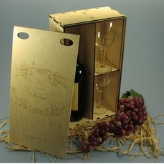 Wine Gift Box with 2 Laser Etched Wine Glasses