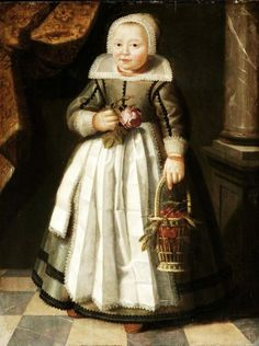 1568 Unknown artist Portrait of a Girl holding a Rose & a Basket of Cherries.  Portraits at this period were loaded with levels of symbolism, and so, the rose and the cherries could just be symbols, which the contemporary viewer would have understood. And on another level, they could suggest some tasks the child might be involved in, such as picking cherries.
