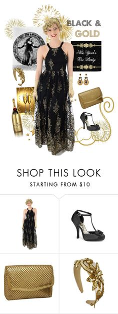 """Black and Gold New Years Eve Party Outfit"" by bluevelvetvintage ❤ liked on Polyvore featuring Pinup Couture, MoÃ«t & Chandon and vintage"