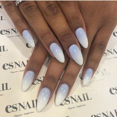 Blue, grey, & white ombré nails