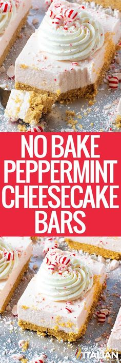No-Bake Peppermint Cheesecake Bars are the best way to enjoy the delicious holiday flavors in a stunning and easy dessert recipe!