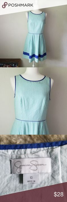 817d0ffbf56b8 Jessica Simpson sleeveless spring dress size 10 Adorable seersucker dress,  it has green and white