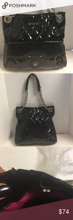 Coach liquid patent leather poppy shoulderbag This is a beautiful coach black glossy liquid poppy patent leather shoulder bag. Can be carried with doorhandles with 12 inch drop or one Crossbody strap with 19 inch drop. Snaps at the top. Does have a few cracks in the patent leather at the top but is not noticeable. Inside lining is pink with some ink stains. Please refer to pictures and let me know if you have any questions. Coach Bags Shoulder Bags
