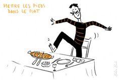 Las expresiones de la lengua francesa © 2009 - Illustración : Zelda Zonk http://www.tv5.org/TV5Site/publication/galerie-236-10-Mettre_les_pieds_dans_le_plat_etre_brutalement_indiscret.htm