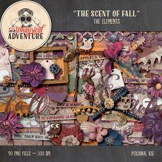 Fall autumn digital scrapbook elements by AWhimsicalAdventure