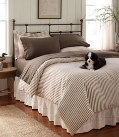 Guest Room Bedding - Ultrasoft Flannel Comforter Cover, Ticking Stripe: Comforter Covers | Free Shipping at L.L.Bean