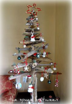 diy driftwood Christmas tree with many diy ornamants - tutorials included - fun non-traditional Christmas tree option