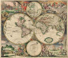 Carte du monde vintage (1689)