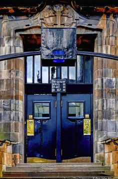 Art Deco; Door of Glasgow School of Art by Charles Rennie Mackintosh. 1899,  Scotland.