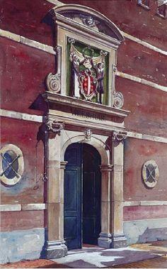 Het ingangspoortje van het Weeshuis aan de Spieringstraat nummer 1 te Gouda. Gebouwd 1643. 1935 J. Verheul Dzn. #ZuidHolland #Gouda #wezen