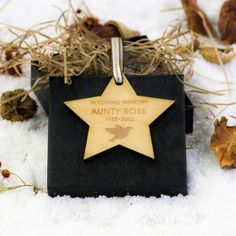 Engraved Maple Wood Star Dove In Loving Memory Decoration