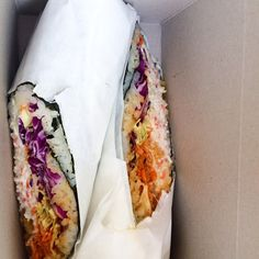 """Not a great photo but SUCH a yummy experience--""""sushi burrito"""" in downtown #berkeley from a place called """"Sushi Secrets"""". Really good! This one had veggies, crab, shrimp tempura. #pacificmerchants #sushi #sushisecrets #berkeley"""