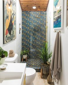 Our Gold Widow Hex is the perfect addition to any room. The patterned cement tile is a great way to make a statement in a room! We're still obsessing over bathroom makeover from last year. Can you blame us? Bathroom Tile Designs, Bathroom Trends, Bathroom Interior Design, Bathroom Renovations, Bathrooms, Small Bathroom, Master Bathroom, Bathroom Ideas, Patterned Kitchen Tiles
