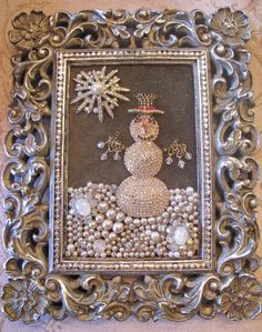 Vintage Rhinestone Costume Jewelry repurposed Framed Snowman Collage Art