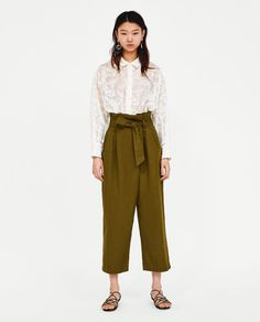 CROSSOVER PAPERBAG TROUSERS-NEW IN-WOMAN | ZARA Canada