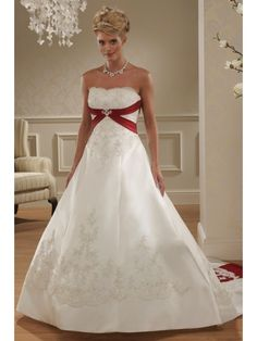 A-line Sweetheart Court Train White and Red Satin Wedding Dresses 1801018