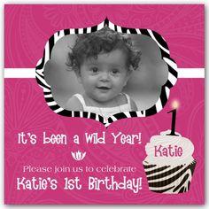 Cupcake Gone Wild Zebra Pink 1st Birthday Invitations
