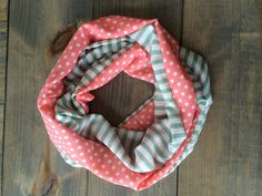 Coral and Mint Infinity Scarf by KutKloth on Etsy