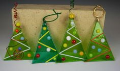 Fused Glass Christmas Tree Ornament by GibsonPottery on Etsy