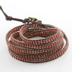 bead and leather wrapped bracelet tutorial