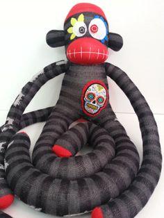 Sugar Skull Sock Monkey by MunkybunsSockToys on Etsy, $45.00