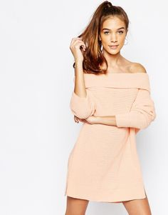 Image 1 of Daisy Street Chunky Off The Shoulder Roll Neck Sweater