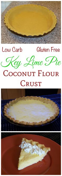 A low carb key lime pie with a flaky gluten free coconut flour crust. This is a great sugar free pie that isn't overly sweet. Perfect for the holidays. Keto diet friendly!