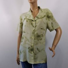 Magic-Button-Down-Blouse-Short-Sleeve-Floral-Sz-L-Olive-Green-Wear-To-Work-Top
