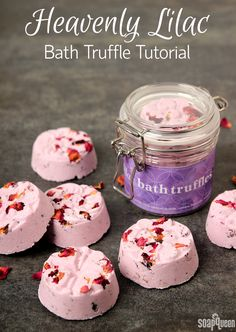 Heavenly Lilac Bath Truffle Tutorial. Learn how to create these luxurious bath truffles using cocoa butter and shea butter.