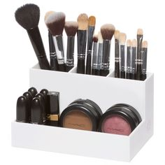 "Our acrylic Brush Holder stores your smaller items, such as brushes, eye liners, and mascaras. DIMENSIONS: 7.5"" W x 4.5"" D x 4"" H THREE COMPARTMENTS MATERIAL: Acrylic"