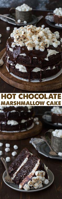 Hot Chocolate Cake with marshmallow buttercream! Made with real hot chocolate and topped with toasted marshmallows!
